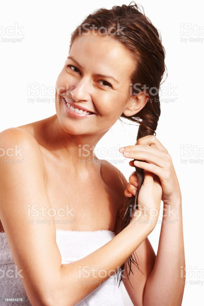 Woman drying her hair after bath royalty-free stock photo