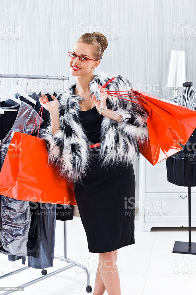 Woman during shopping royalty-free stock photo