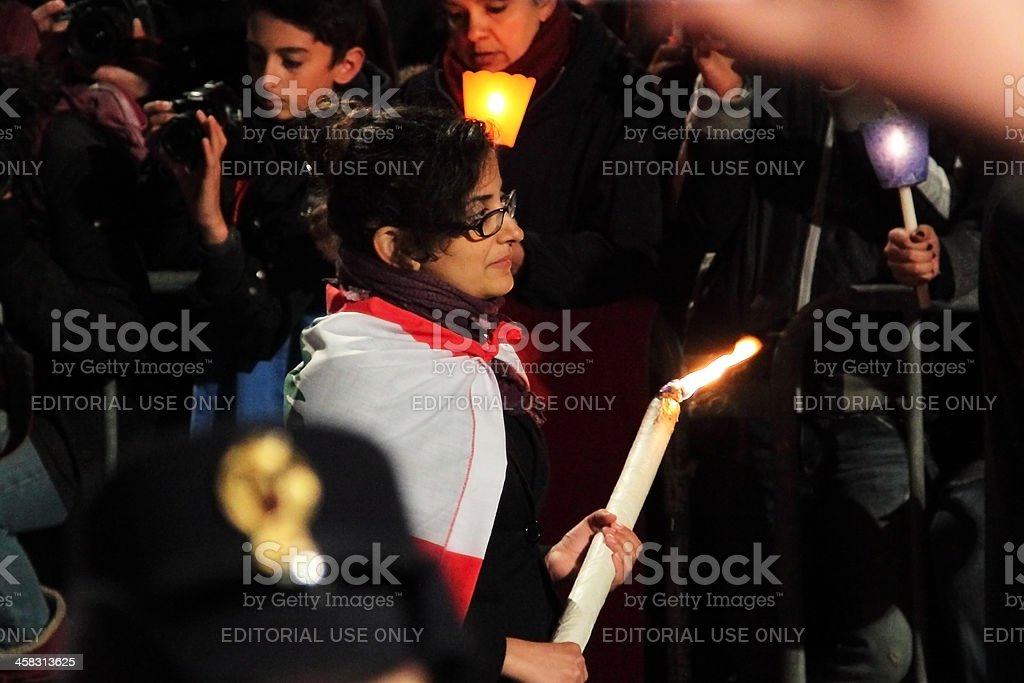 Woman during Stations of the Cross chaired by Pope Francis stock photo