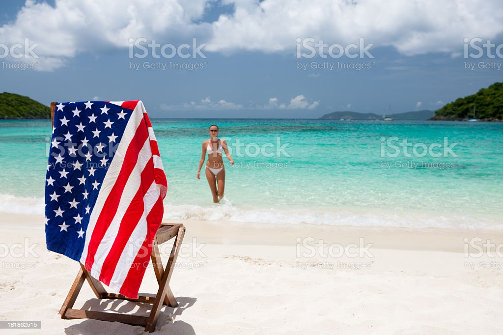 woman during summer vacation at a beach in USVI stock photo