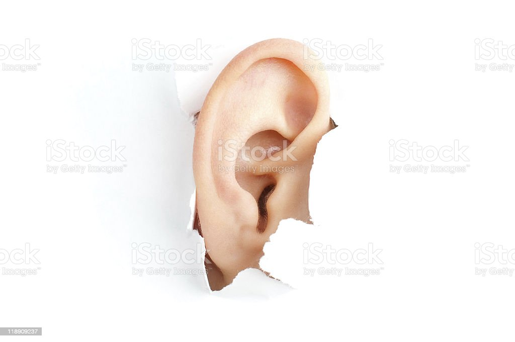 woman ear stock photo