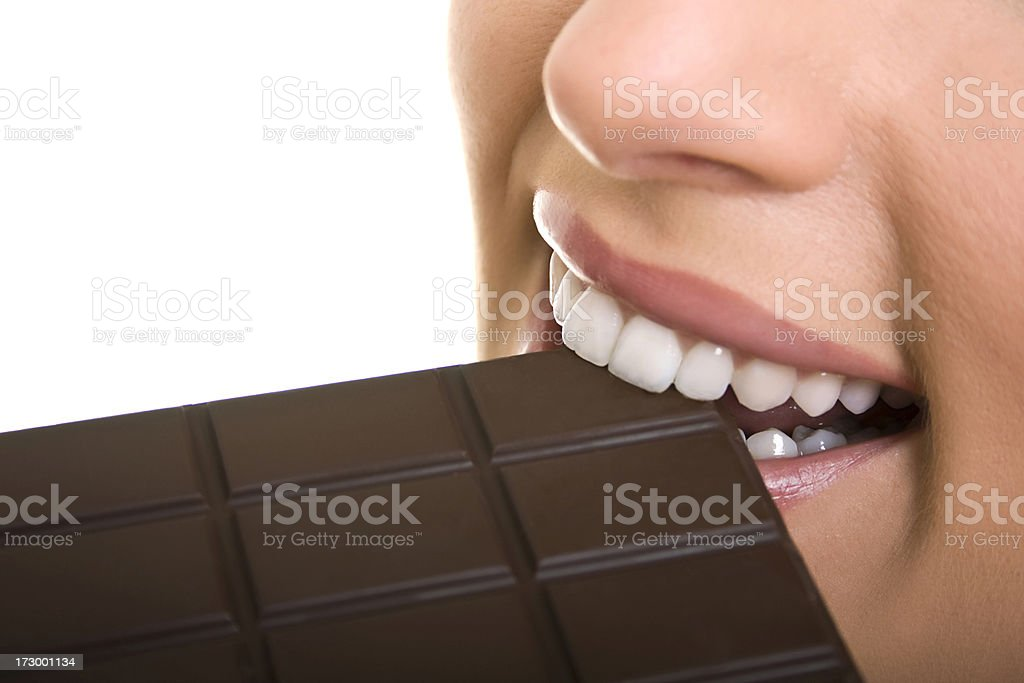 woman eat chocolate royalty-free stock photo