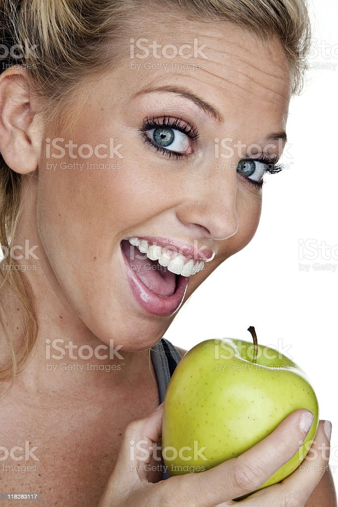 Woman eating apple royalty-free stock photo