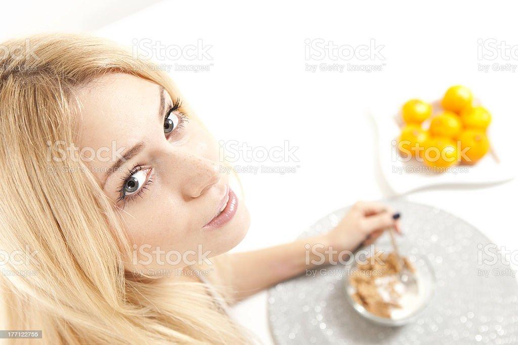 Woman Eating Breakfast stock photo