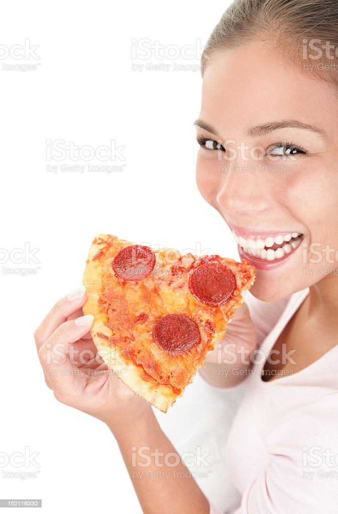 Woman eating pizza royalty-free stock photo