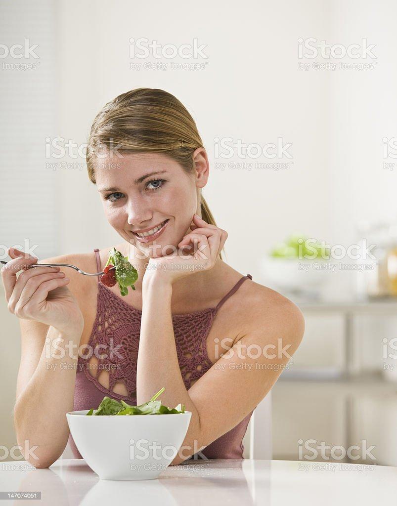 Woman Eating Salad royalty-free stock photo