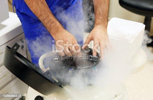 a liquid nitrogen bank containing sperm and eggs samples