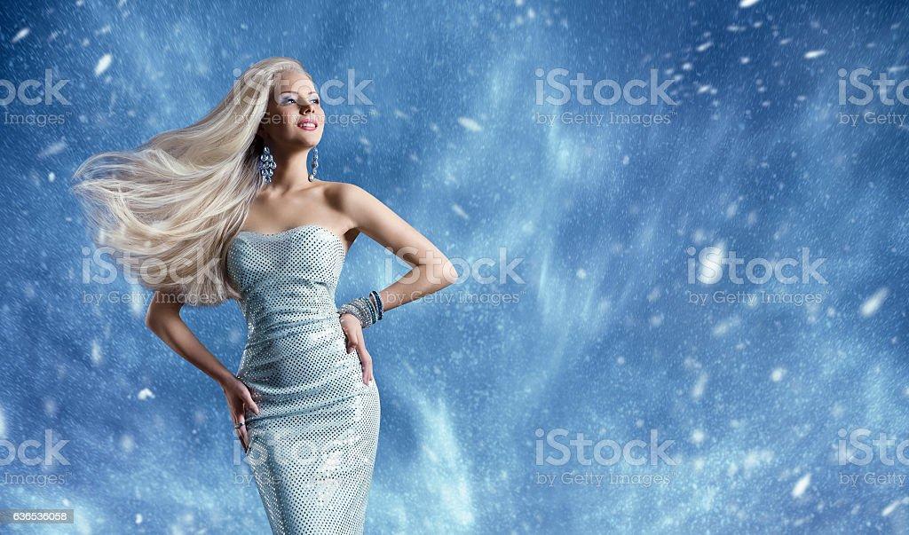 Woman Elegant Fashion Dress, Long Hair Waving, Winter Model Beauty stock photo