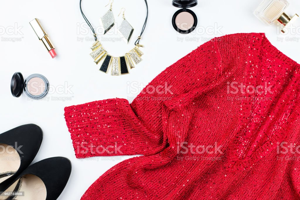 Woman Elegant Red Sequin Dress Jewelry Make Up Items And Black Heels