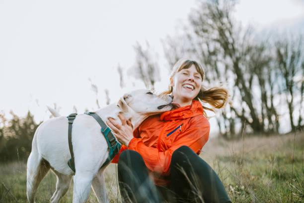 Frau umarmt Hund im freien – Foto