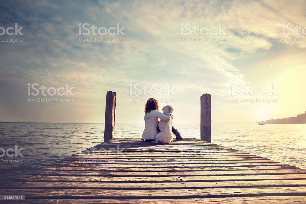 woman embracing sweetly his dog while looking the view stock photo