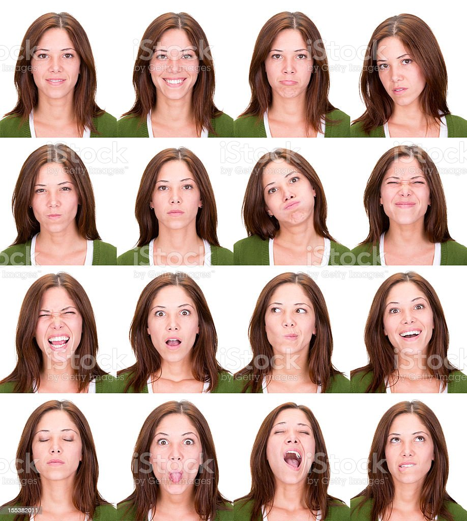 woman emotion expression collection set white background stock photo