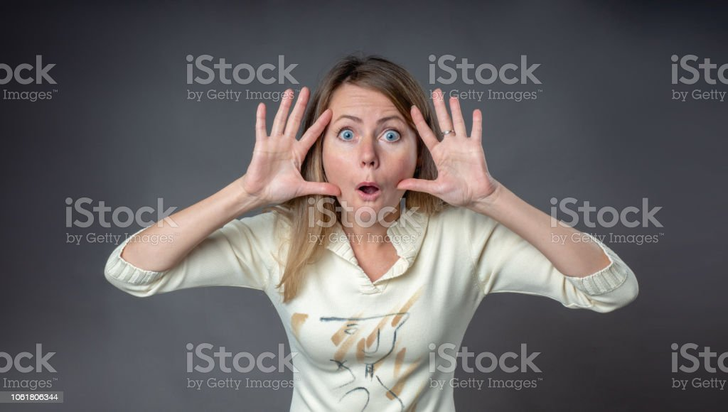 Woman Emotion Woman In Surprised Emotion With Bulging Eyes Raised Hands And  Rounded Lips Body Language And Real Feelings Portrait Of Emotional Woman