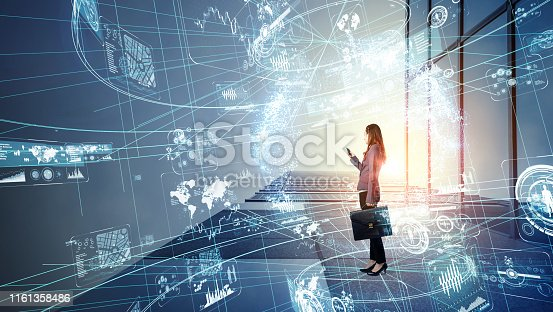 Woman engineer and communication network concept.