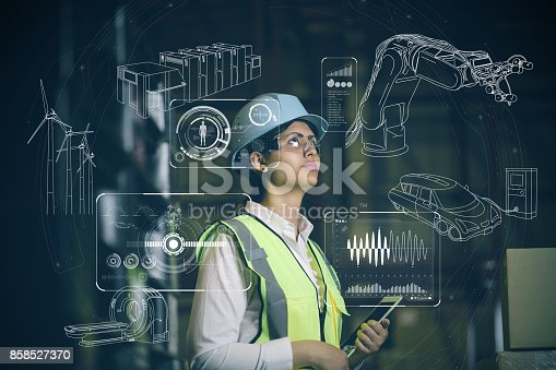 istock woman engineer and various business information. 858527370
