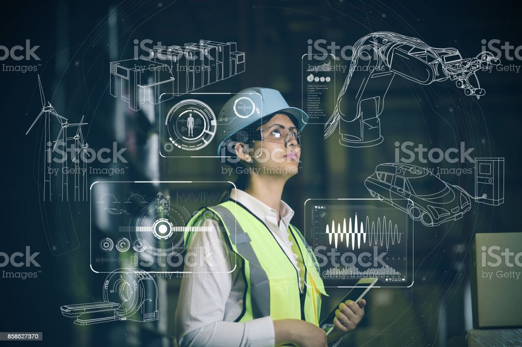 woman engineer and various business information. stock photo