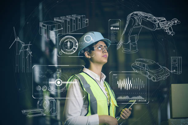 woman engineer and various business information. - computer aided manufacturing stock photos and pictures