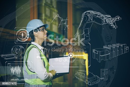 istock woman engineer and various business information. 858527472