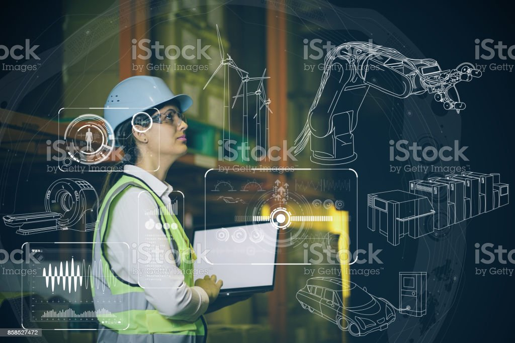 kvinna ingenjör och olika affärsinformation. bildbanksfoto
