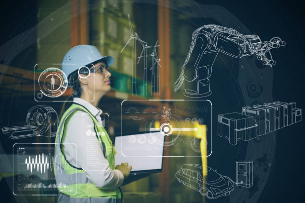woman engineer and various business information. - robotics manufacturing stock photos and pictures