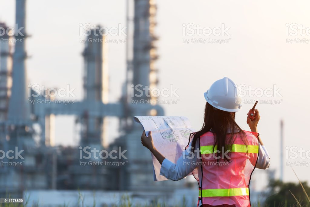 woman engineer and working new project in power plant, Engineer Concept,professional,safety,industry royalty-free stock photo