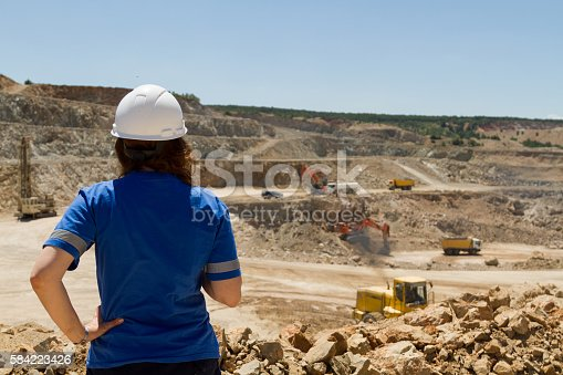 istock woman engineer at mine 584223426