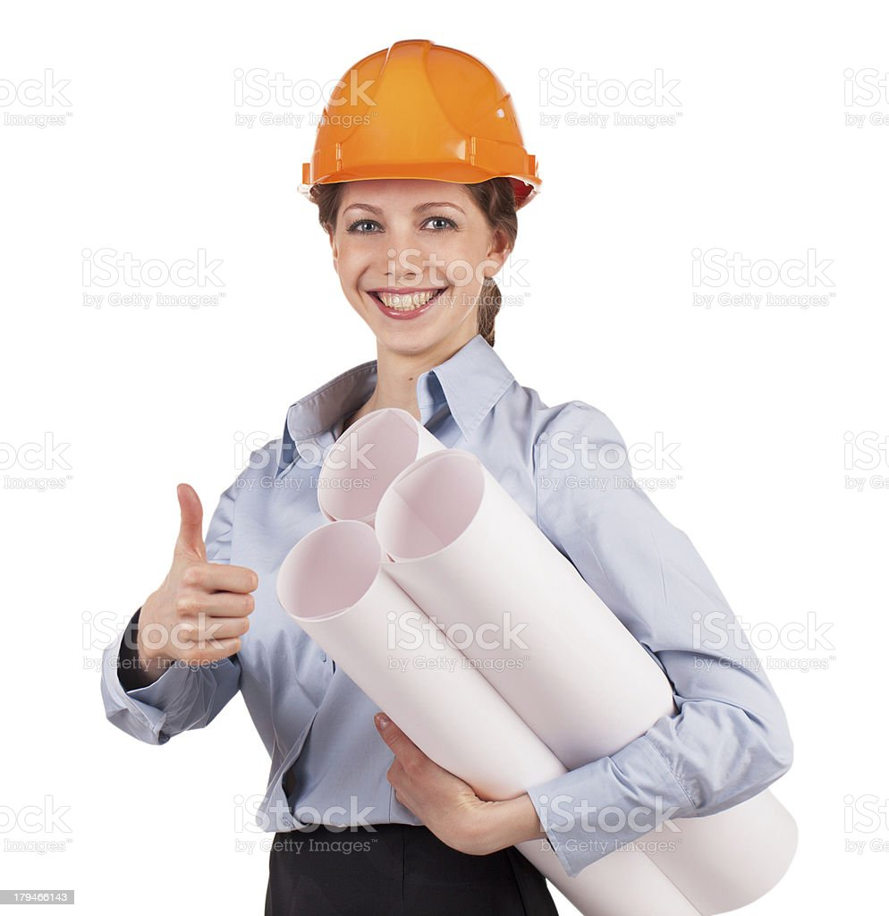 Woman - engineer in a protective helmet royalty-free stock photo