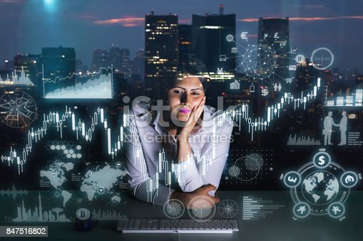 847519080 istock photo woman engineer looking at various information in screen of futuristic interface. 847516802