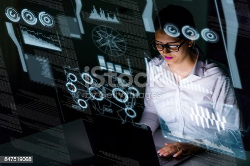 847519080 istock photo woman engineer looking at various information in screen of futuristic interface. 847519068