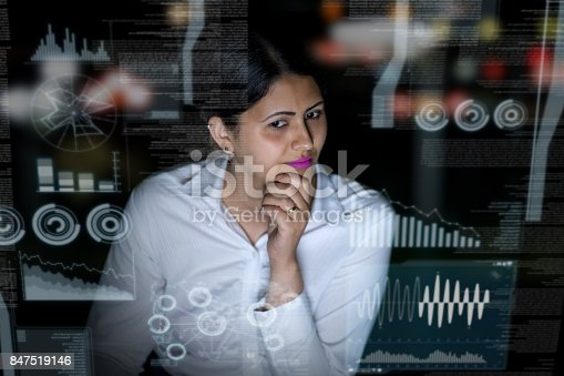 847519080 istock photo woman engineer looking at various information in screen of futuristic interface. 847519146