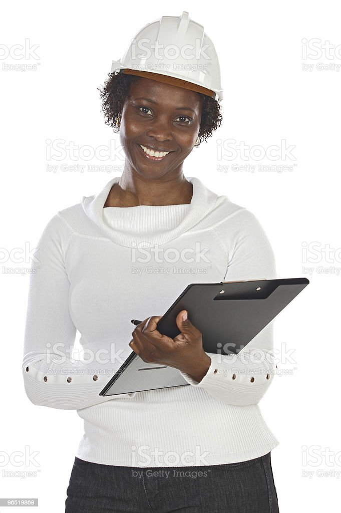 Woman engineer writing royalty-free stock photo