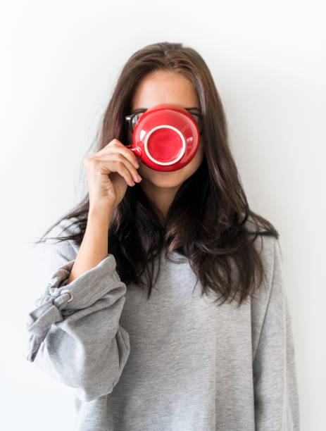 Woman enjoy morning coffee stock photo