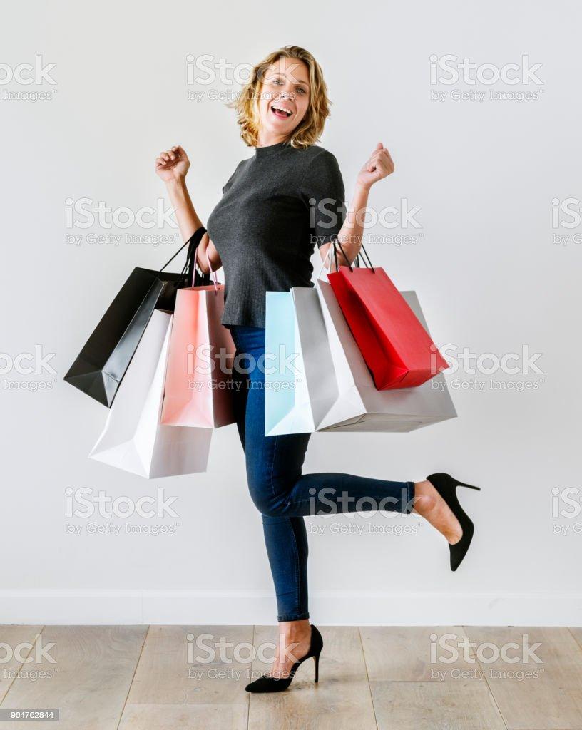 Woman enjoy shopping royalty-free stock photo