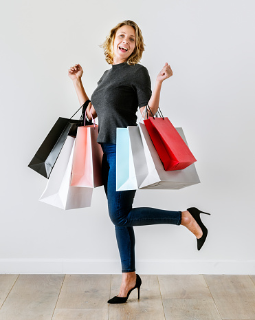 Woman Enjoy Shopping Stock Photo & More Pictures of Addict