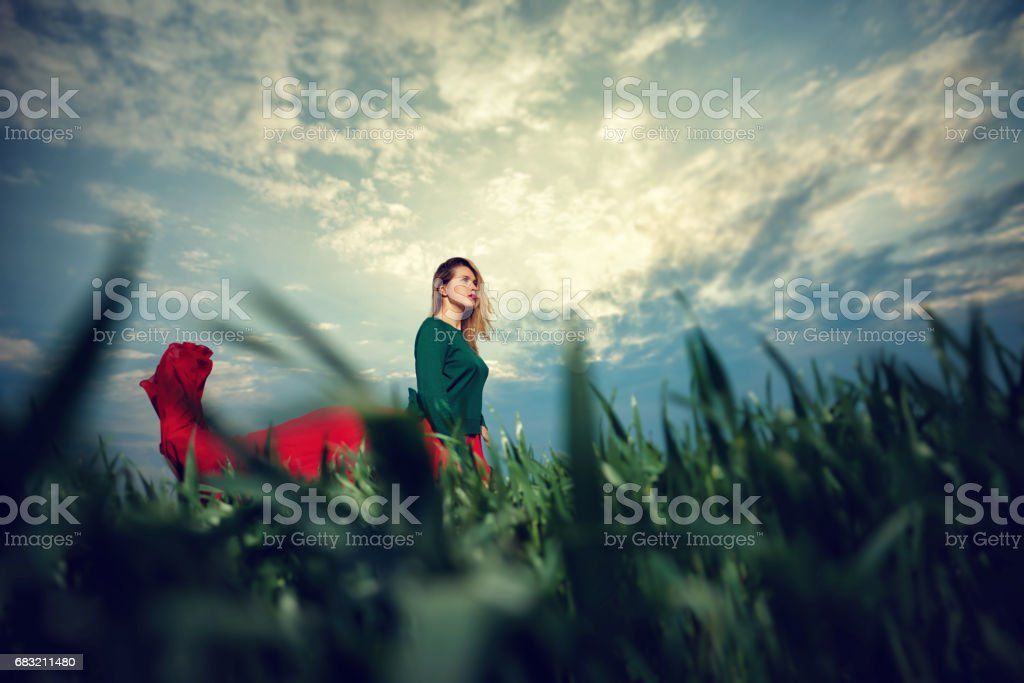 woman enjoy sunset time in nature royalty-free stock photo