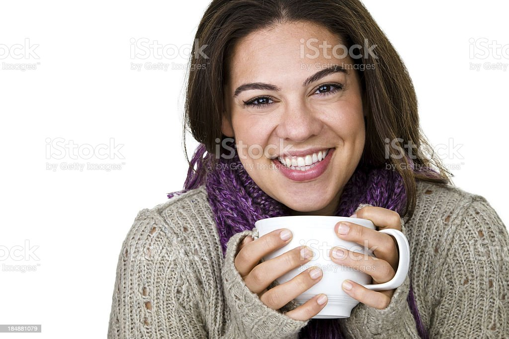 Woman enjoying a mug of coffee royalty-free stock photo