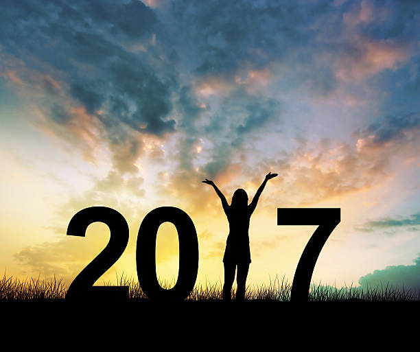 woman Enjoying and 2017 years while celebrating new year Silhouette young woman Enjoying on the hill and 2017 years while celebrating new year 2017 stock pictures, royalty-free photos & images