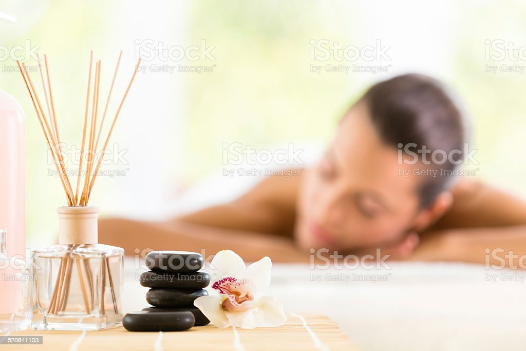Woman enjoying aromatherapy stock photo