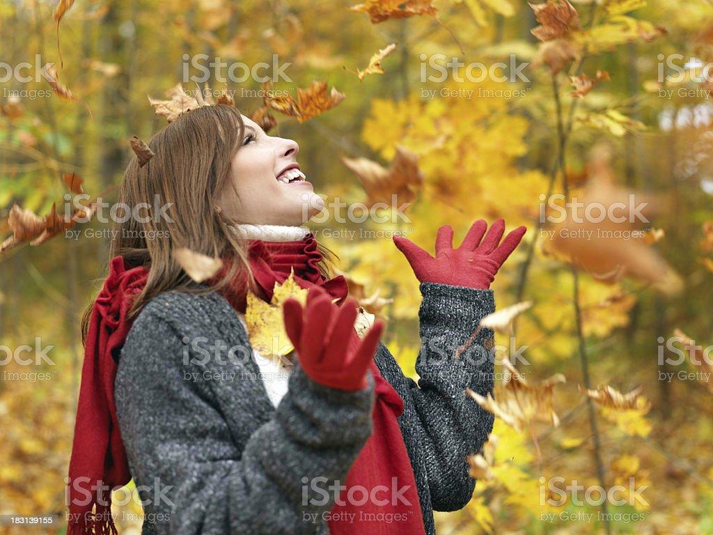 Woman enjoying autumn royalty-free stock photo