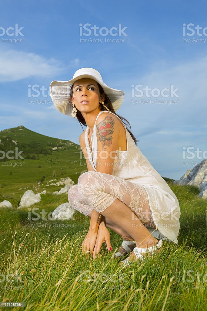 Woman enjoying free time in nature stock photo