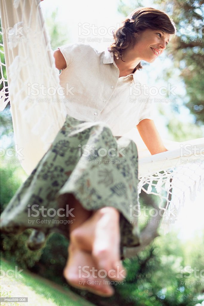 Woman enjoying hammock royalty-free 스톡 사진