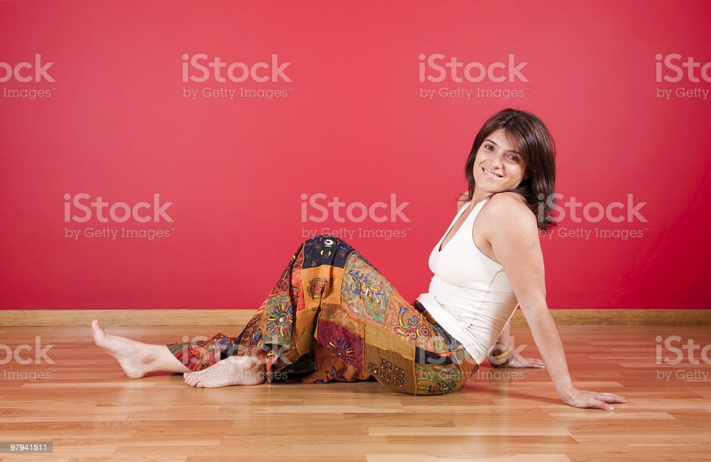 Woman enjoying her house royalty-free stock photo