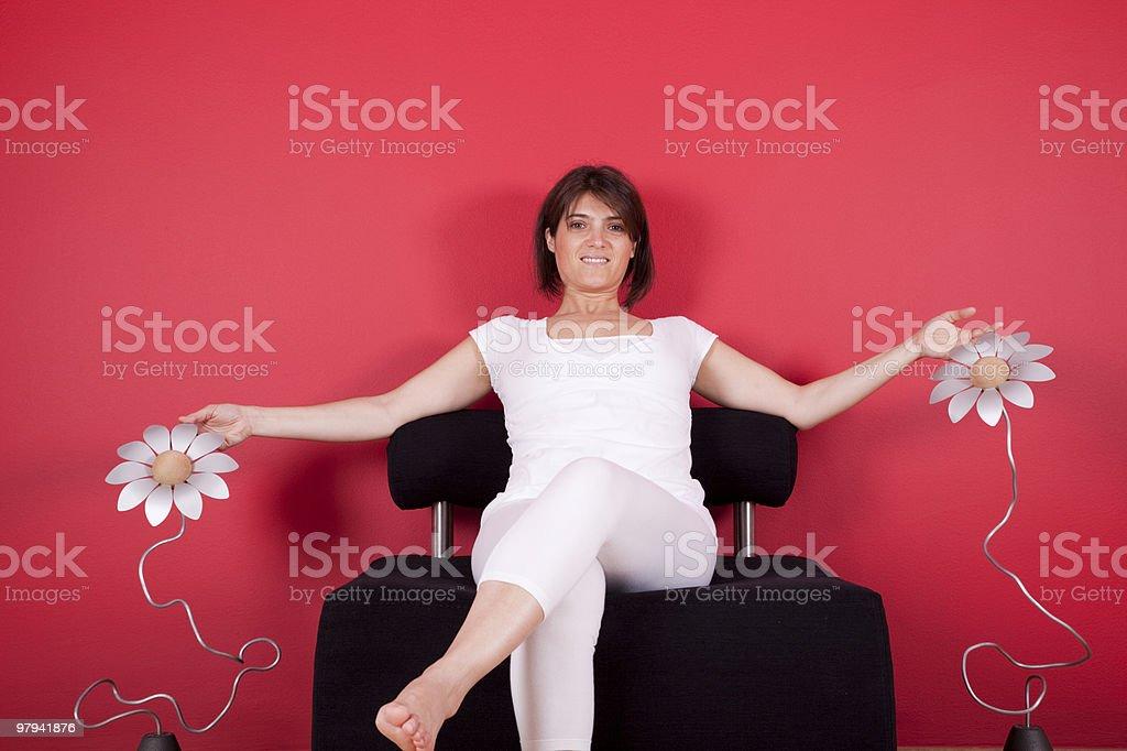 Woman enjoying her new house royalty-free stock photo