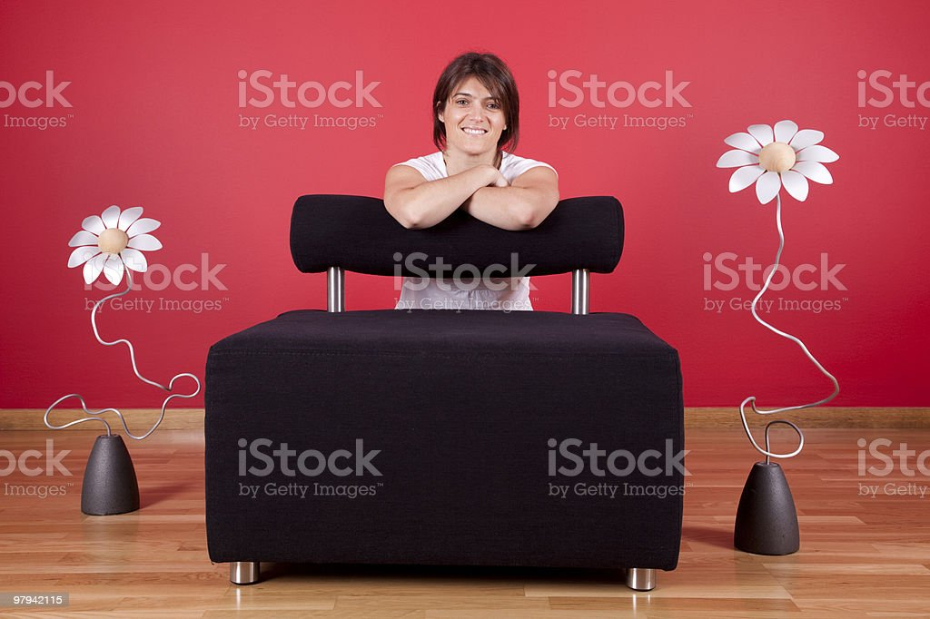 Woman enjoying her new house royalty-free stock photo