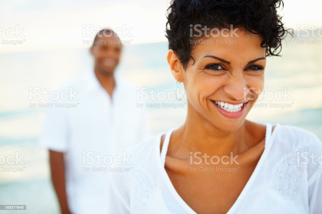 Woman enjoying her vacation stock photo