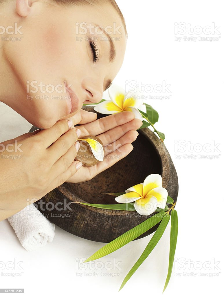 Woman enjoying in spa royalty-free stock photo