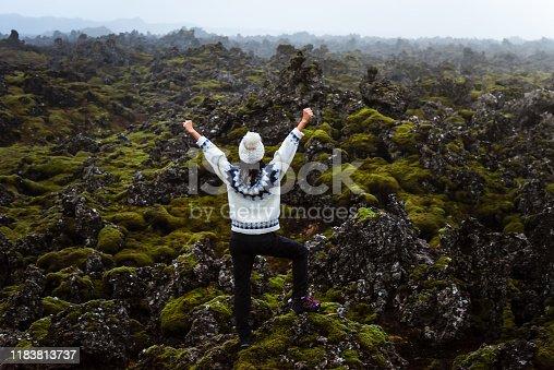 Woman enjoying lava field scenery in Iceland