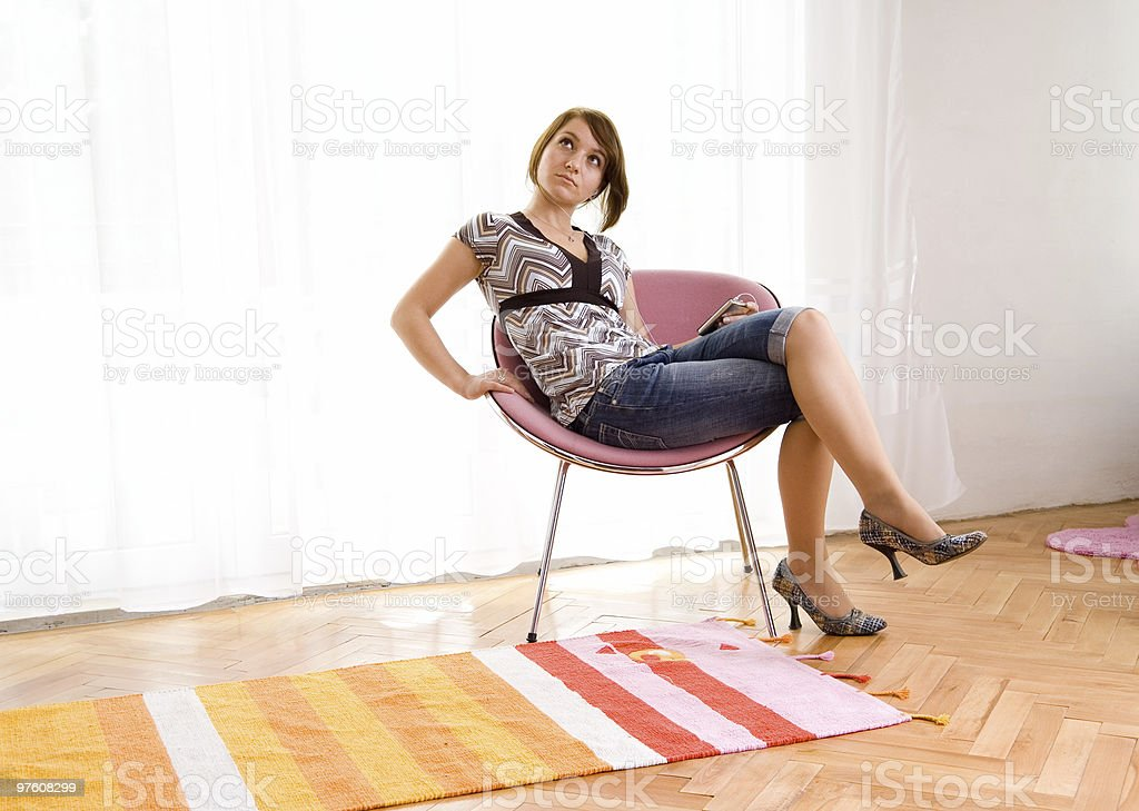 Woman enjoying listening to music royalty-free stock photo
