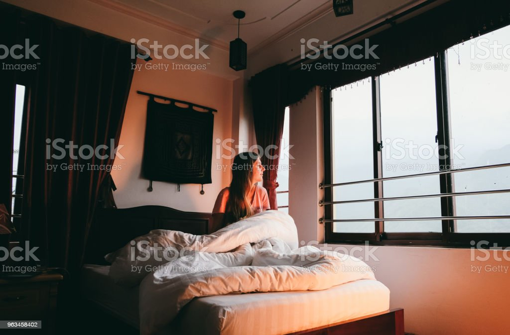 Kadının dağ sabah hotel Sa Pa, Vietnam - Royalty-free Apartman Stok görsel