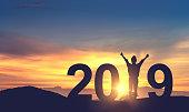 丘の上と 2019 年祝う新年を楽しむ女性